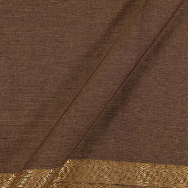 Pure Mangalgiri Cotton Brown To Purple Two Tone Nizam Border Fabric