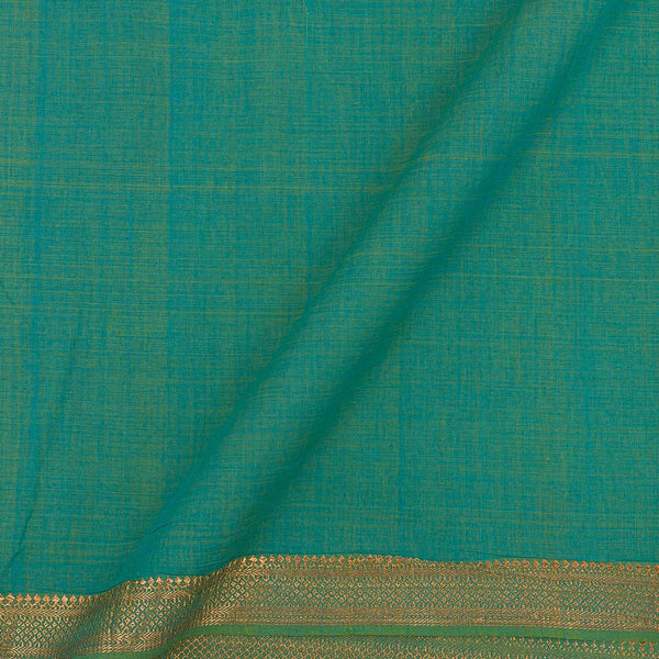 Mangalgiri Cotton Sea Blue Two Tone  Nizam Zari Border Fabric