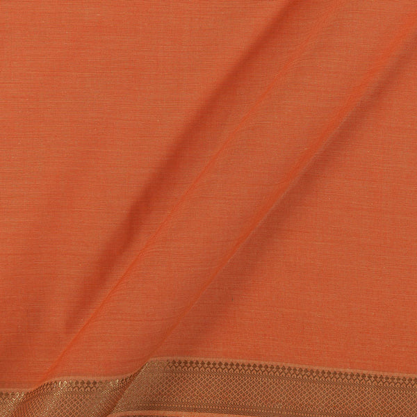 Mangalgiri Cotton Fanta Orange Colour Nizam Border Fabric