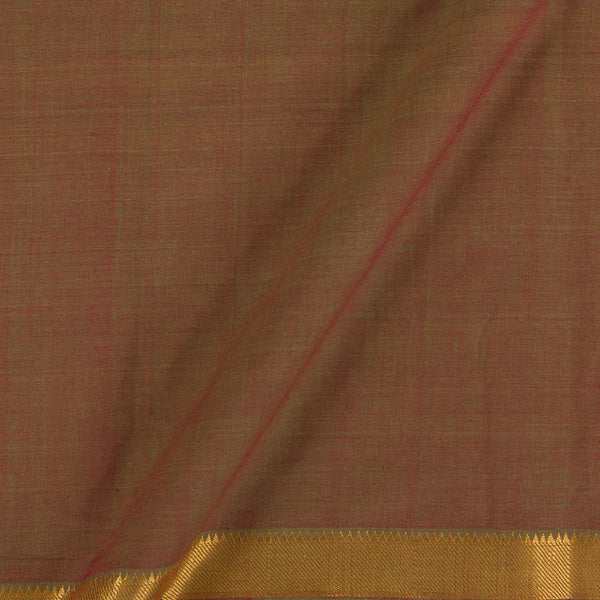 Mangalgiri Cotton Green to Red Mix Tone Nizam Zari Border Fabric