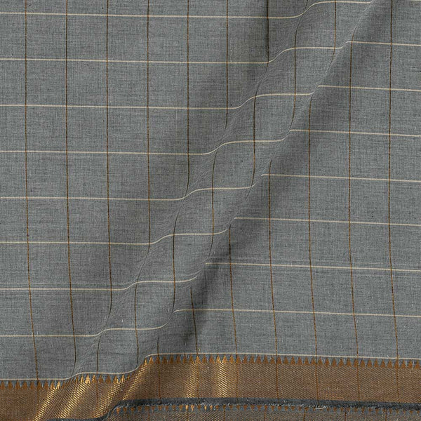 Mangalgiri Cotton Ash Grey Colour Checks Nizam Zari Border Fabric