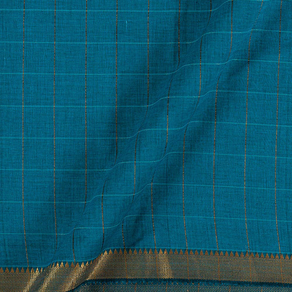 Mangalgiri Cotton Ocean Blue Colour Checks Nizam Zari Border Fabric