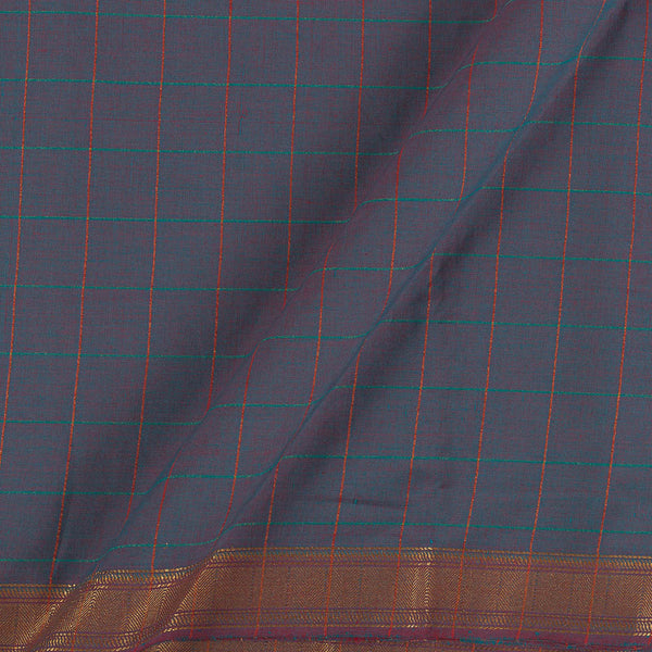 Mangalgiri Cotton Red And Blue Two Tone Checks Nizam Zari Border Fabric