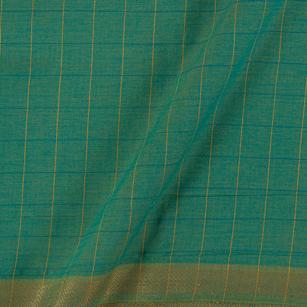 Mangalgiri Cotton Pastel Green Two Tone Checks Nizam Zari Border Fabric