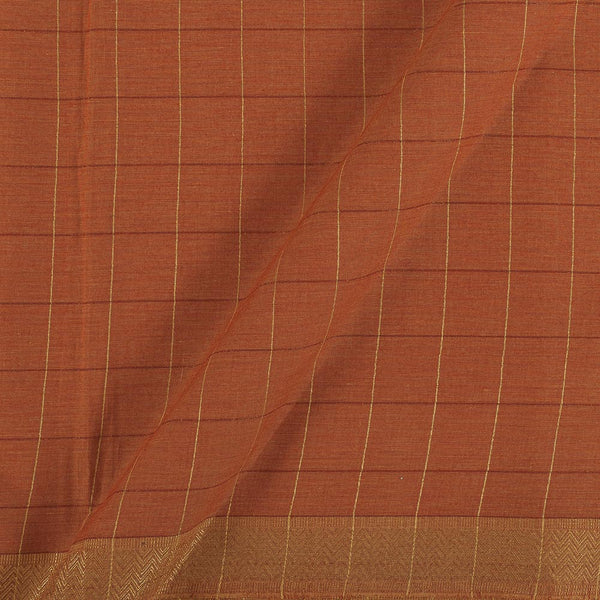 Mangalgiri Cotton Rust Orange Colour Checks Nizam Zari Border Fabric