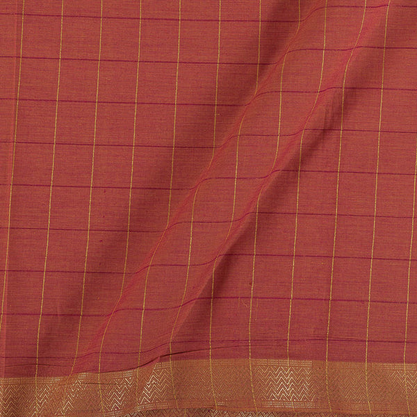 Mangalgiri Cotton Coral Two Tone Checks Nizam Zari Border Fabric