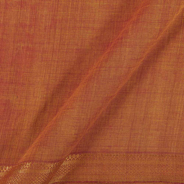 Mangalgiri Cotton Orange Two Tone Nizam Zari Border 45 Inches Width Fabric