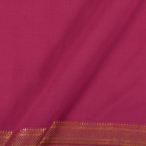 Mangalgiri Cotton Hot Pink Colour Nizam Zari Border 45 Inches Width Fabric