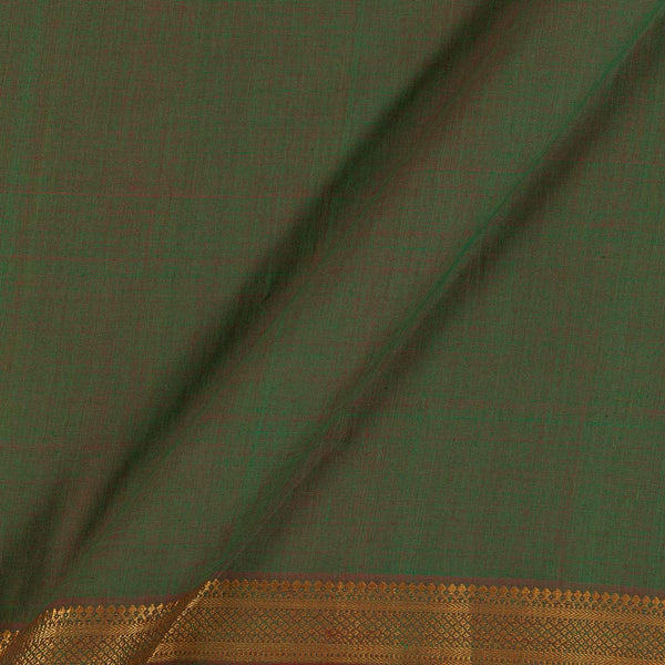 Mangalgiri Cotton Green Two Tone Nizam Zari Border 45 Inches Width Fabric