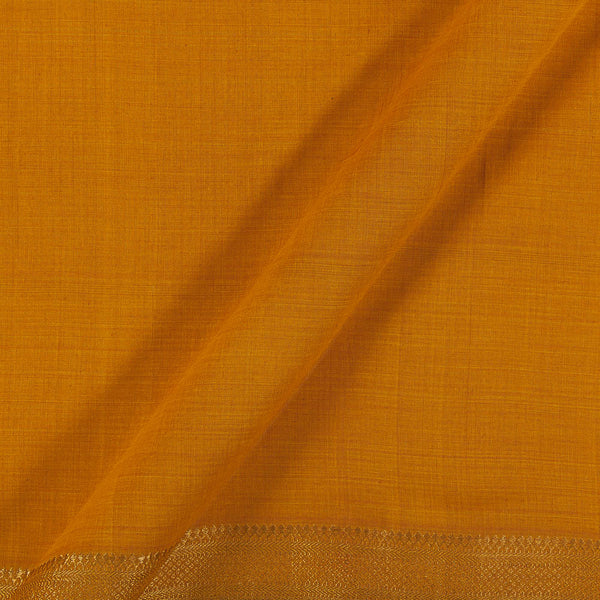 Mangalgiri Cotton Mustard Orange Colour Nizam Zari Border 45 Inches Width Fabric