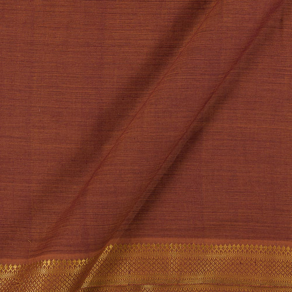 Mangalgiri Cotton Rust Brown Two Tone Nizam Zari Border 45 Inches Width Fabric