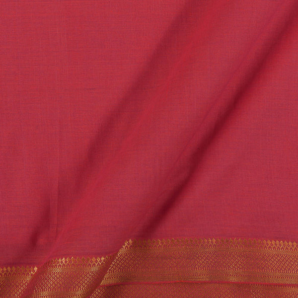 Mangalgiri Cotton Peach Orange Colour Nizam Zari Border 45 Inches Width Fabric