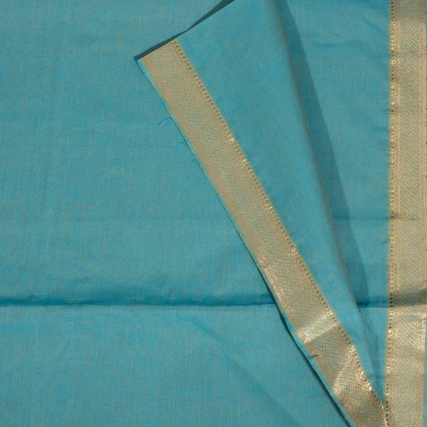 Aqua Colour Nizam  Border Pure Mangalgiri Cotton Fabric