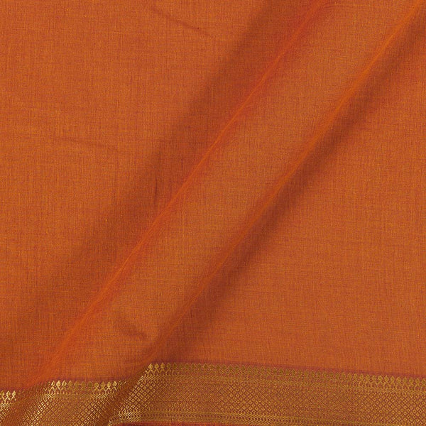 Mangalgiri Cotton Orange To Red Two Tone Nizam Zari Border Fabric
