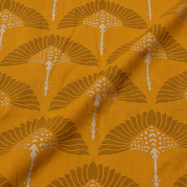 Mustard Colour Floral Gold Foil Print Rayon Fabric