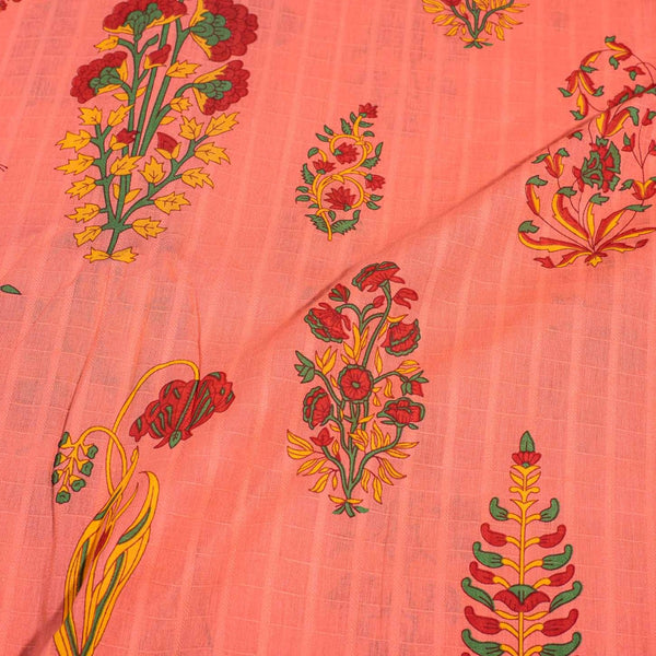 Peach Colour Floral Block Print Dobby Cotton Fabric