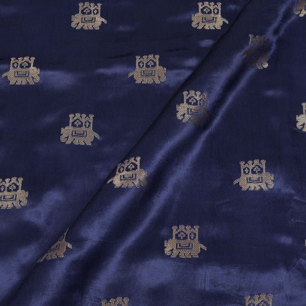 Gaji Kasab Butta Elephant Motif Navy Blue Colour Fabric