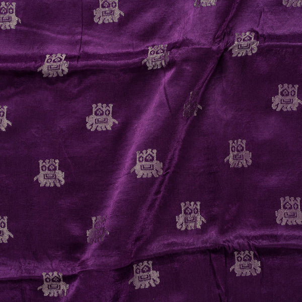 Gaji Kasab Butta Elephant Motif Purple Colour Fabric