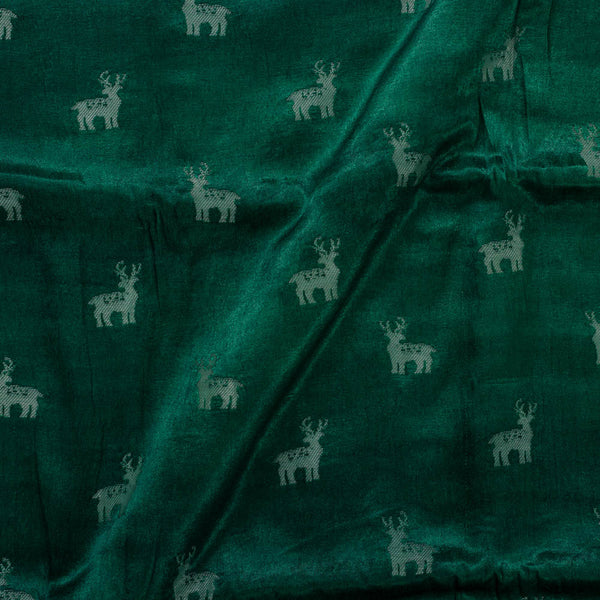 Gaji Kasab Butta Deer Motif Bottle Green Colour Fabric