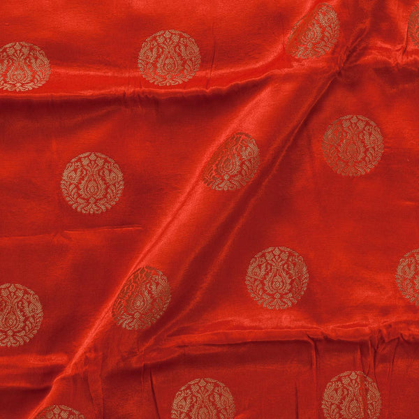 Gaji Kasab Mughal Butta Fanta Orange Colour 46 Inches Width Fabric