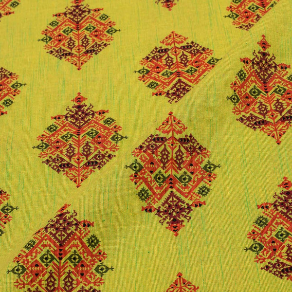 Parrot Green Colour Gold Floral Print 42 inches Width Slub Cotton Fabric