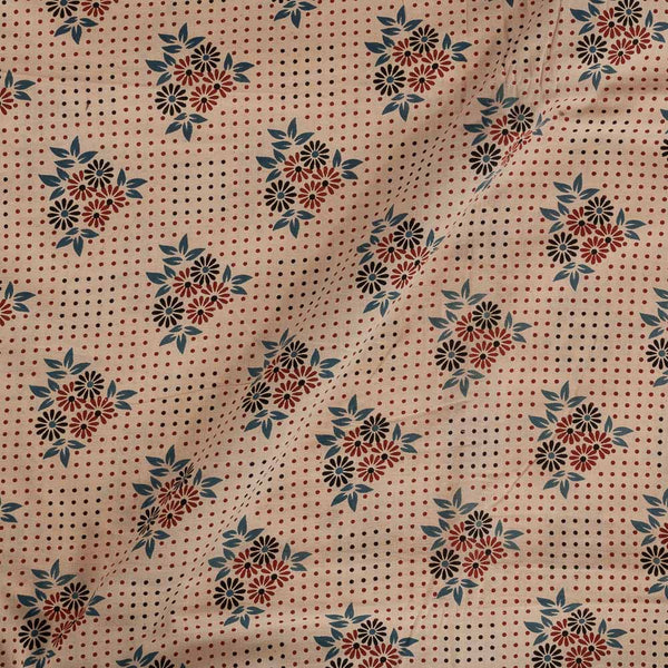 Ajarakh Cotton Off White Colour 46 inches Width Natural Dye Block Print Fabric