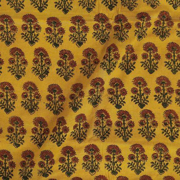 Ajarakh Cotton Mustard Colour 43 inches Width Natural Dye Block Print Fabric