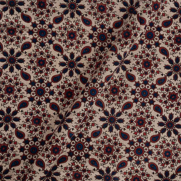 Ajarakh Cotton Off White Colour Natural Dye Block Print Fabric