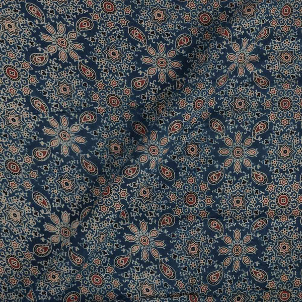 Ajarakh Cotton Blue Colour 43 inches Width Natural Dye Block Print Fabric