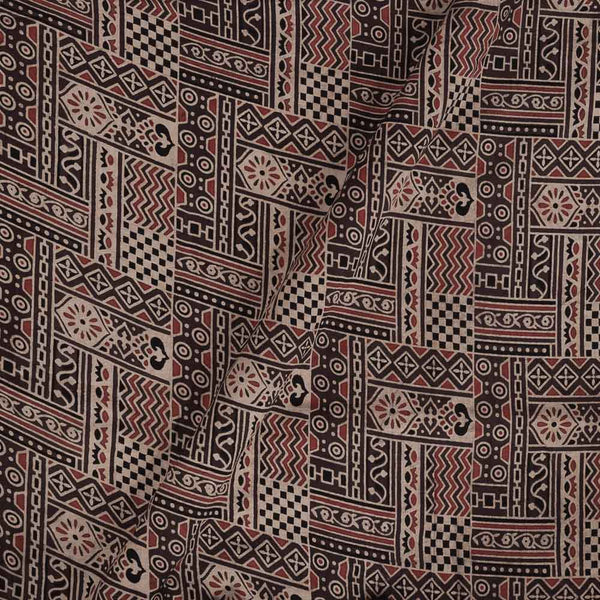 Ajarakh Cotton Mauve Colour 43 inches Width Natural Dye Block Print Fabric