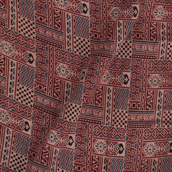 Ajarakh Cotton Red Colour 43 inches Width Natural Dye Block Print Fabric
