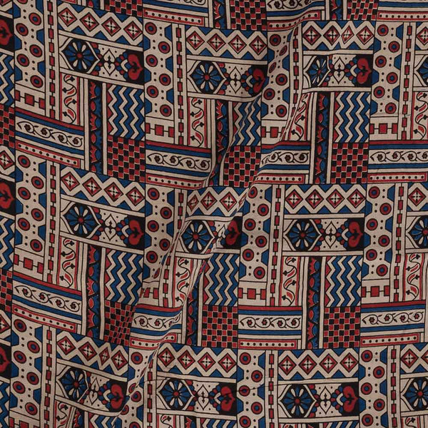 Ajarakh Cotton Off White Colour 43 inches Width Natural Dye Block Print Fabric