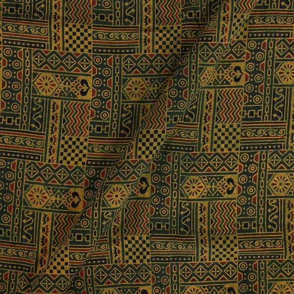 Ajarakh Cotton Green Colour 43 inches Width Natural Dye Block Print Fabric