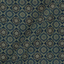 Ajarakh Cotton Steel Blue Colour Natural Dye Block Print Fabric