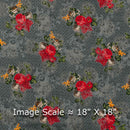 Rayon Steel Grey Colour 56 inches Width Floral butta Dew Drops Fabric