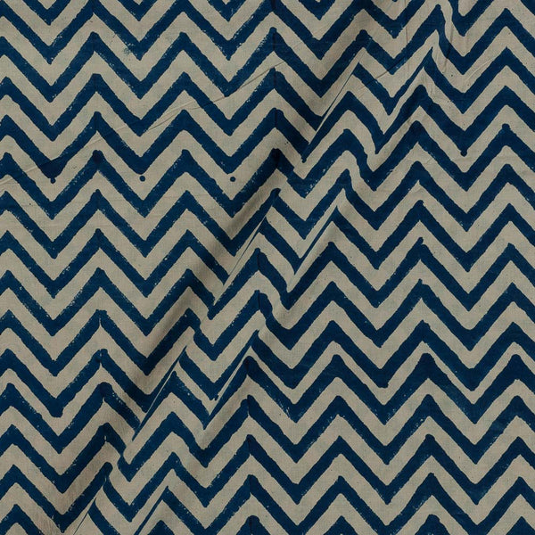 Bagru Cotton Blue Colour Chevron Print Fabric