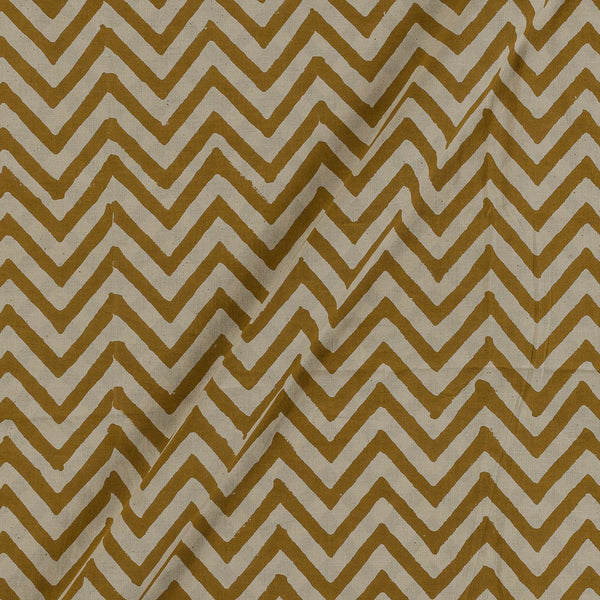 Bagru Cotton Olive Colour Chevron Print Fabric