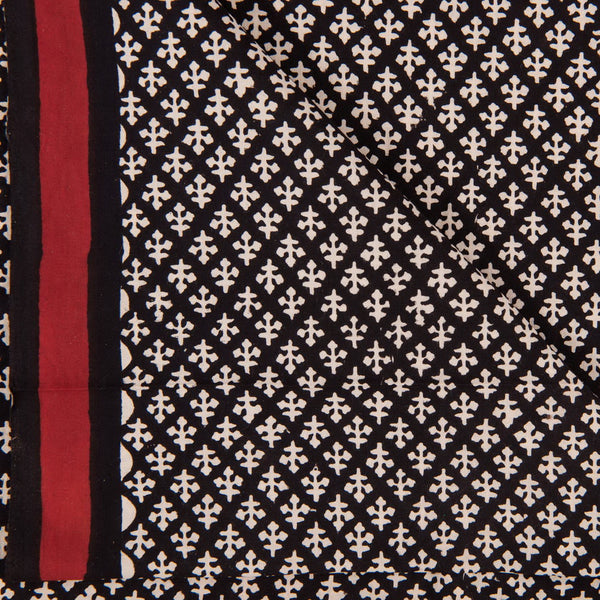 Bagru Cotton Black Colour 45 inches Width Ethnic Print Fabric
