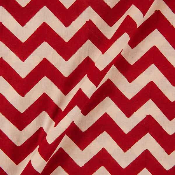Bagru Cotton Brick Colour Chevron Print Fabric