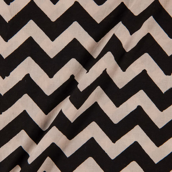 Bagru Cotton Black Colour Chevron Print Fabric