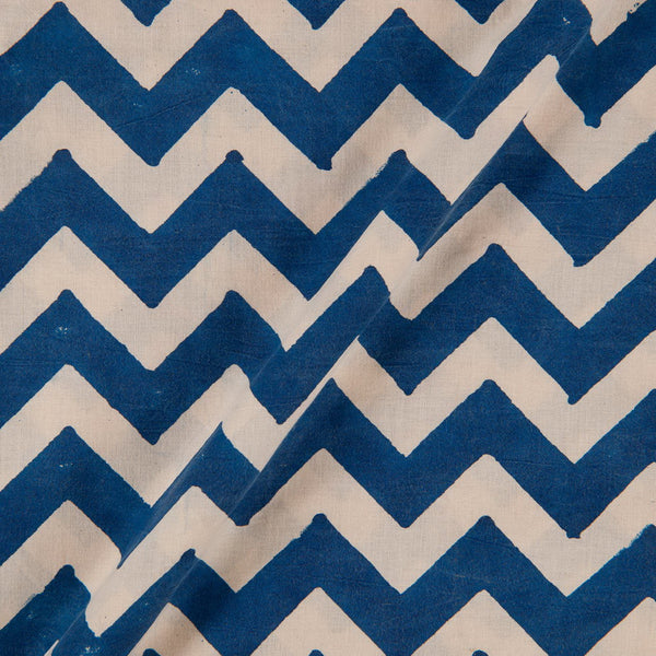 Bagru Cotton Indigo Colour 45 inches Width Chevron Print Fabric
