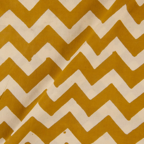 Bagru Cotton Mustard Colour Chevron Print Fabric