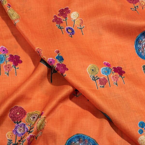 Orange Colour Floral Print Linnen Effect Silky Satin Fabric
