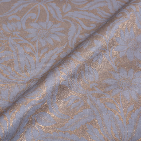 Dove Grey Colour Gold Foil Jaal Print Poly Linen Satin Fabric