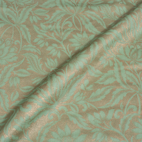 Pastel Green Colour Gold Foil Jaal Print Poly Linen Satin Fabric