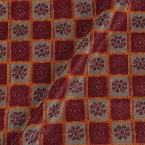 Poly Tussar Maroon Colour 43 Inches Width Geometric Print Fabric