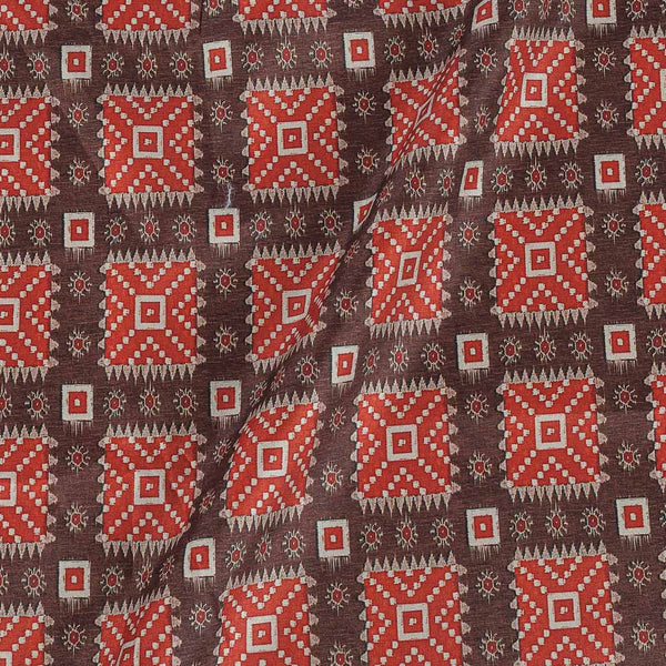 Poly Tussar Brown Colour 43 Inches Width Geometric Print Fabric