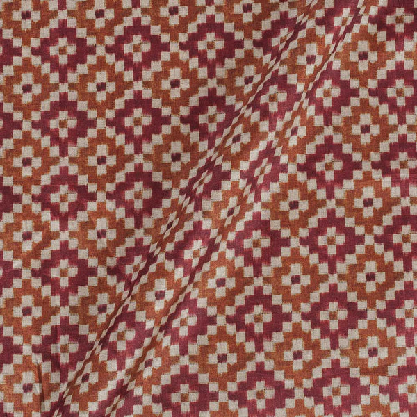 Poly Tussar Beige Maroon Colour 43 Inches Width Geometric Print Fabric