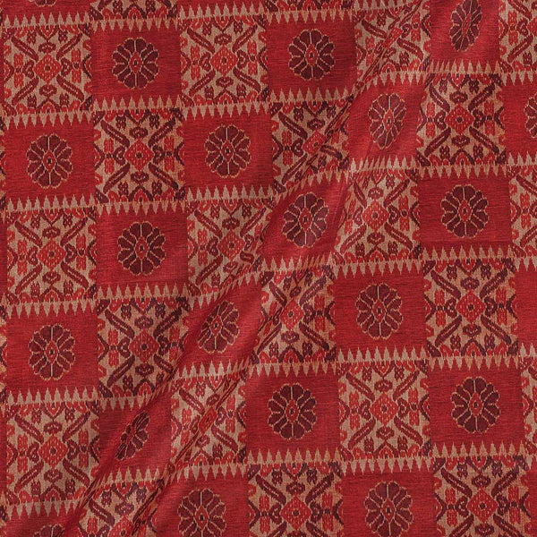 Poly Tussar Hot Coral Colour 43 Inches Width Geometric Print Fabric