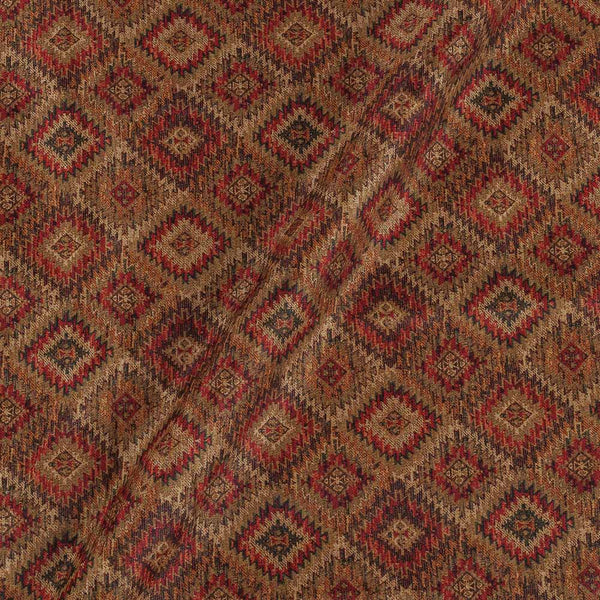 Poly Tussar Beige Gold Colour 43 Inches Width Geometric Print Fabric